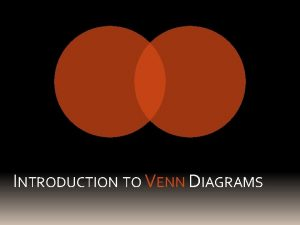 INTRODUCTION TO VENN DIAGRAMS Introduction to Venn Diagrams