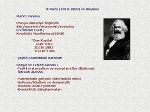 K Marx 1818 1883 ve Byme Marx Tanma