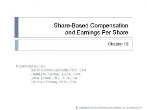 ShareBased Compensation and Earnings Per Share Chapter 19