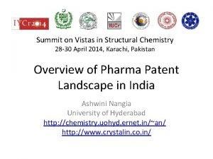 Summit on Vistas in Structural Chemistry 28 30