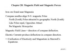 Chapter 28 Magnetic Field and Magnetic Forces Iron