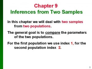 Chapter 9 Inferences from Two Samples In this