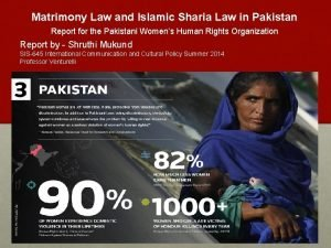 Matrimony Law and Islamic Sharia Law in Pakistan