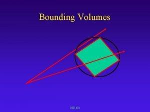 Bounding Volumes CSE 681 Bounding Volumes Use simple