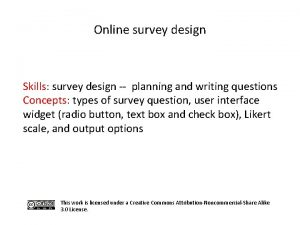 Online survey design Skills survey design planning and