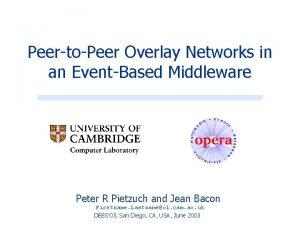 PeertoPeer Overlay Networks in an EventBased Middleware Peter