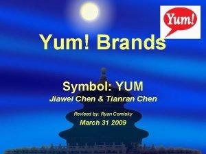 Yum Brands Symbol YUM Jiawei Chen Tianran Chen
