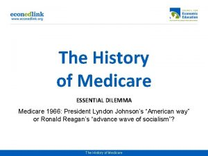 The History of Medicare ESSENTIAL DILEMMA Medicare 1966