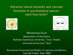 Attractor neural networks and concept formation in psychological