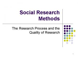 Social Research Methods The Research Process and the