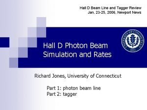 Hall D Beam Line and Tagger Review Jan