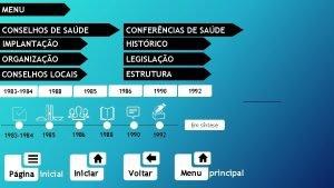 MENU CONSELHOS DE SADE CONFERNCIAS DE SADE IMPLANTAO