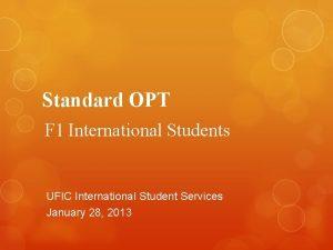 Standard OPT F 1 International Students UFIC International