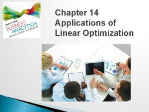 Chapter 14 Applications of Linear Optimization Applications of