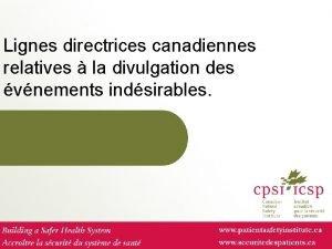 Lignes directrices canadiennes relatives la divulgation des vnements