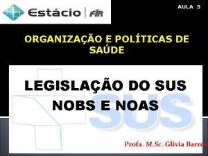 AULA 5 ORGANIZAO E POLTICAS DE SADE LEGISLAO