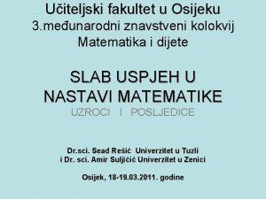 Uiteljski fakultet u Osijeku 3 meunarodni znavstveni kolokvij