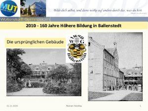 2010 160 Jahre Hhere Bildung in Ballenstedt Die