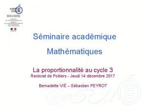 Sminaire acadmique Mathmatiques La proportionnalit au cycle 3