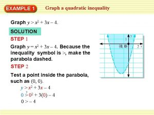 EXAMPLE 1 Graph a quadratic inequality Graph y