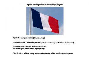 Quelles sont les symboles de la Rpublique franaise