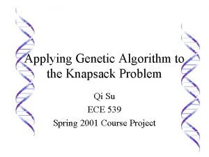 Applying Genetic Algorithm to the Knapsack Problem Qi