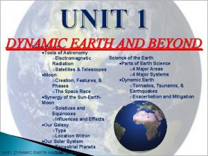 UNIT 1 DYNAMIC EARTH AND BEYOND Beyond Earth