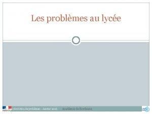 Les problmes au lyce Stage rsolution de problmes