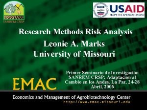 Research Methods Risk Analysis Leonie A Marks University
