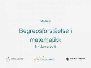 Modul 2 Begrepsforstelse i matematikk B Samarbeid Ml