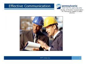 Effective Communication Bureau of Workers Compensation PA Training