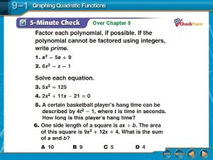 Over Chapter 8 Over Chapter 8 Graphing Quadratic