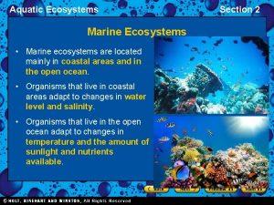 Aquatic Ecosystems Marine Ecosystems Marine ecosystems are located