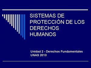 SISTEMAS DE PROTECCIN DE LOS DERECHOS HUMANOS Unidad