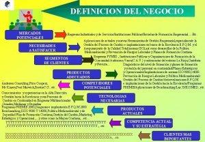 DEFINICION DEL NEGOCIO MERCADOS POTENCIALES Empresas Industriales y
