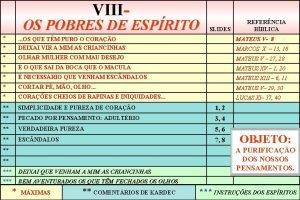 VIII OS POBRES DE ESPRITO SLIDES REFERNCIA BBLICA