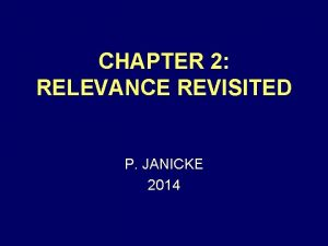 CHAPTER 2 RELEVANCE REVISITED P JANICKE 2014 DIRECT