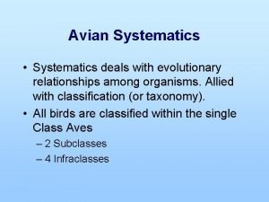 Avian Systematics Systematics deals with evolutionary relationships among