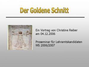 Ein Vortrag von Christine Reiber am 04 12