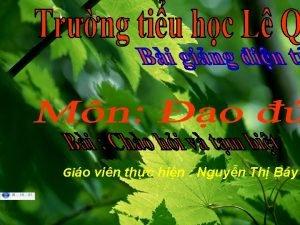 Gio vin thc hin Nguyn Th By o