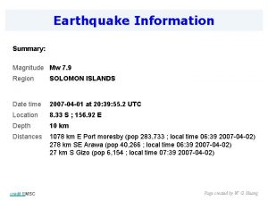 Earthquake Information Summary Magnitude Mw 7 9 Region