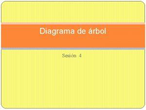 Diagrama de rbol Sesin 4 Tambin conocido Diagrama