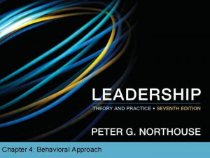Chapter 4 Behavioral Approach Overview Behavioral Approach Perspective