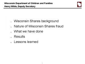 Wisconsin Department of Children and Families Henry Wilde