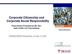 Corporate Citizenship und Corporate Social Responsibility Theoretische Perspektiven