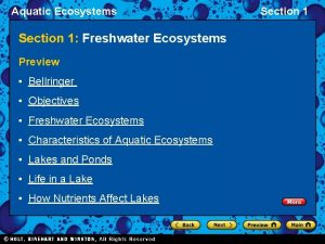 Aquatic Ecosystems Section 1 Freshwater Ecosystems Preview Bellringer
