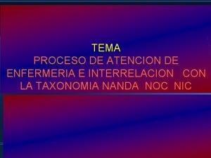 TEMA PROCESO DE ATENCION DE ENFERMERIA E INTERRELACION