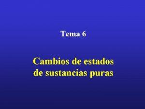 Tema 6 Cambios de estados de sustancias puras