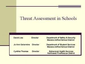 Threat Assessment in Schools David Liss Director Department