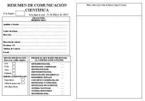 RESUMEN DE COMUNICACIN CIENTFICA N de Registro Fecha